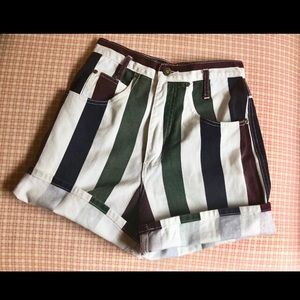Vintage color block striped shorts